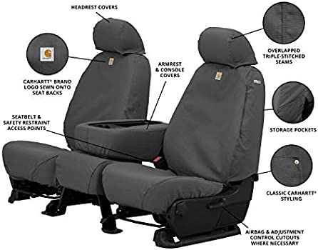 Duck Weave Gravel Covercraft Carhartt SeatSaver Front Row Custom Fit Seat Cover for Select Ford Models
