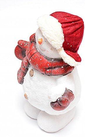 Dekofigur Winterdeko Weihnachtsdeko Schneemann rot Keramik 19cm