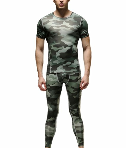 Findci Mens Compression Shirts Tabby Trousers Camo Tight Sportswear Suits