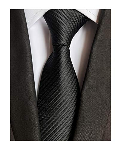 Men Striped Black Silk Ties Fashion Woven Neckties Creative Design Gift for -