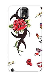 Durable Defender Case For Galaxy Note 3 Tpu Cover(heart Flower Fish Un Tattoo Art Tattoo Art)