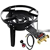 High Flame Outdoor Stove Cooker - Propane Gas Burner with Wind Stand - Heavy Duty Cast Iron Portable Camp Outdoor Stove - Automatic Ignition Complete with CSA Approved Hose & Regulator