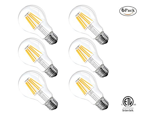 Vintage Edison LED Bulb, 6W Antique LED Bulb,Classic A19/A60 LED Light Bulbs, E26 Medium Base Lamp, 2700K Warm White, 600 Lumens,60 Watt Equivalent, Clear Glass Cover,Not-Dimmable,ETL Listed,6 Pack (Medium A19 Base Lights)