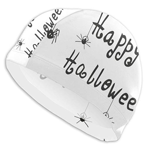 K0k2to Swimming Cap Elastic Swimming Hat Diving Caps,Happy Halloween Celebration Monochrome Hand Drawn Style Creepy Doodle Artwork,for Men Women Youths -