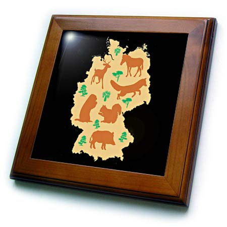 (3dRose Sven Herkenrath Animal - Map of Germany with Many Animals Fox Deer Squirrel - 8x8 Framed Tile (ft_308052_1))