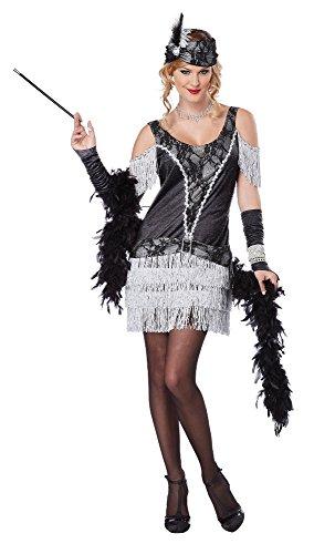 California Costumes Women's Razzle Dazzle Flapper Roaring 2O's Dress, Black/Silver, (Razzle Dazzle Flapper Costumes)