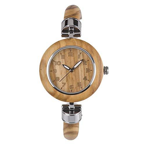 Wooden Fashion Watch, Casual Unique Watch Novel Ladies Bracelet Wristwatch(Olive Wood) -