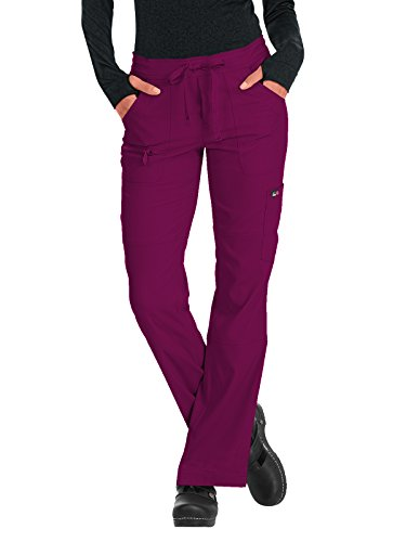 KOI Lite Women's Peace Drawstring Scrub Pant Medium Tall Wine