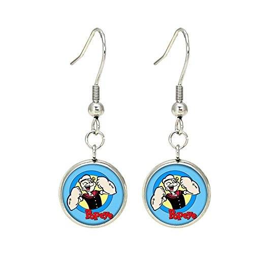 Popeye Dangle Earrings TV Movies Classic Cartoons Superhero Logo Theme Olive Oyl Bluto Sweet Pea Spinich Spinach Premium Quality Detailed Cosplay Jewelry Gift (Popeye Olive Oyl And Sweet Pea)