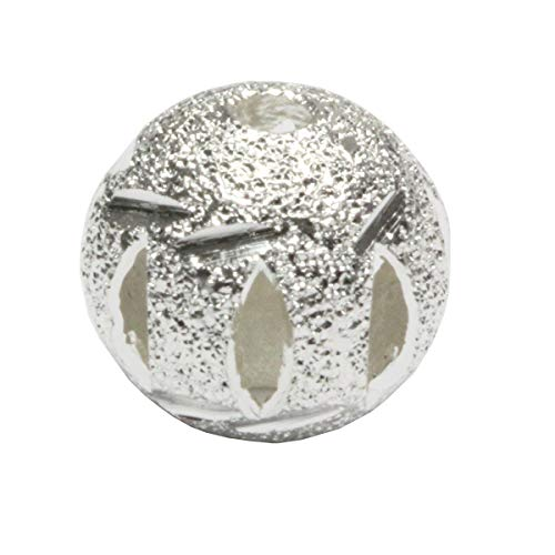 (50pcs Top Quality 6mm Artistic Filigree Round Spacer Beads Sterling Silver Plated Brass Metal for Jewelry Craft Making CF18-6)