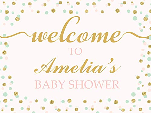 Personalized Baby Shower Banner, Baby Girl, Royal Baby Shower, Gold and Pink, Baby Shower Backdrop, Sparkling Baby Shower Handmade Baby Shower Banner Decor, Sizes: 36x24, 48x24, 48x36, 24x18]()