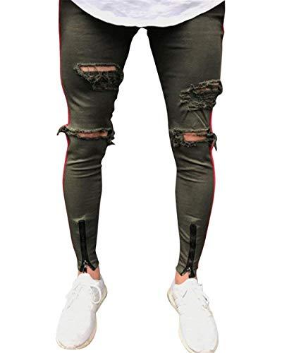 Skinny Pantaloni Uomo Slim Jeans grün Strappati Fit Distrutti Casual Giovane Stretch Armee xq78a