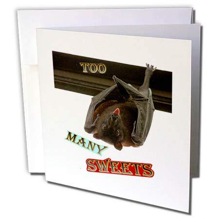 3dRose Sandy Mertens Halloween Designs - Bat Hanging Upside Down Too Many Sweets Halloween, 3drsmm - 6 Greeting Cards with envelopes -