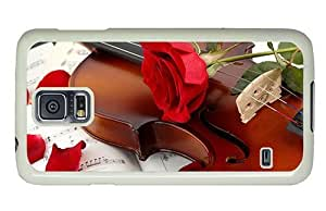 Hipster Samsung Galaxy S5 Case silicone violin red rose PC White for Samsung S5