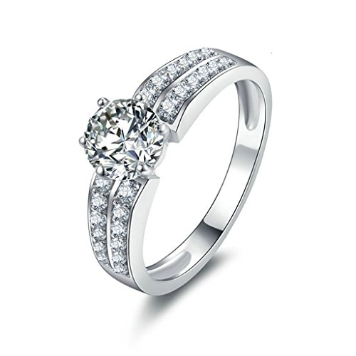 [Epinki Women Rings, 925 Sterling Silver Ring Proposal Ring With Round Cubic Zirconia Size 7] (Diy Half Man Half Woman Costume)