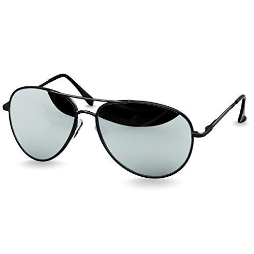 Argenté charnières Miroir Unisexe Lunettes Caspar Rétro Noir ressort soleil de à avec SG013 qUxpw7nH