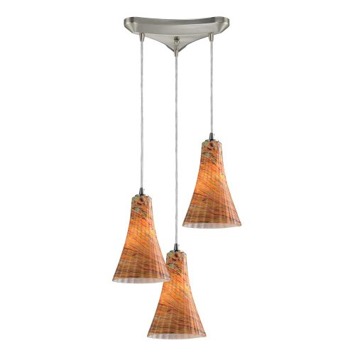 Elk 10221/3AMF Cadence 3-Light Mini Pendant with Amber Flow Glass Shade, 10 by 9-Inch, Satin Nickel Finish