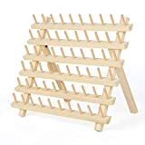 HAITRAL 60-Spool Thread Rack, Wooden Thread Holder