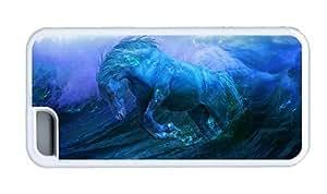 Hipster DIY iPhone 5C cases aqua horse TPU White for Apple iPhone 5C