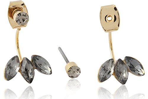 Triple Peacock Pattern Crystal Stone & Stud Rhinestone Front to Back Stud Earrings by Lovey Lovey (Black)