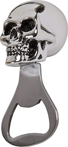 Skull Bottle Opener - Polished Chrome & Metal (Pack of 2) -