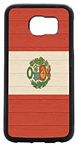 Rikki KnightTM Peru Flag on Distressed Wood Design Samsung? Galaxy S6 Case Cover (Black with front Bumper Protection) for Samsung Galaxy S6