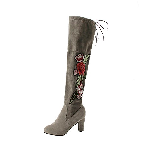 Women Boots, Hatop Women Rose Embroider Thigh High Boots Over The Knee Boot Flock High Heels Shoes Gray