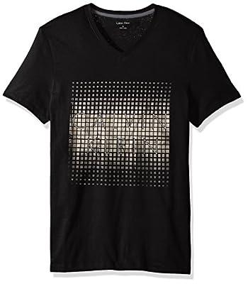Calvin Klein Men's Short Sleeve Foil Logo V-Neck T-Shirt