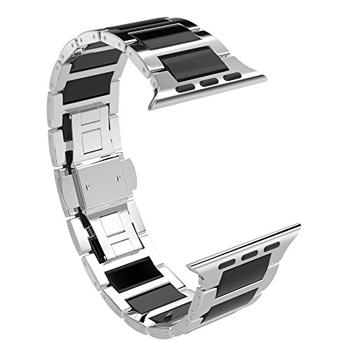 Ceramic Watch Band, SOWELL Ceramic Bracelet Replacement Band for Apple Iwatch Band All Model (38MM Silver + ()