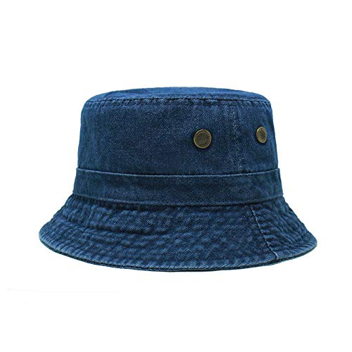 ChoKoLids Cotton Bucket Hat | Packable Summer Travel Hat | Fishing Hat | 7 Colors (Dark Denim) (Blue Denim Bucket Hat)