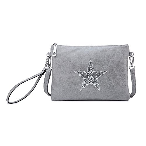 Craze London Womens Small Cross Body Shoulder Bag with Sparkling Star Print/Ladies Clutch Wallet Handbag, Womens Wristlet Grey