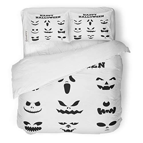 Tarolo Bedding Duvet Cover Set Collection of Halloween Pumpkins Carved Faces Silhouettes Black and White Images Variety Eyes Mouths Noses 3 Piece Twin 68