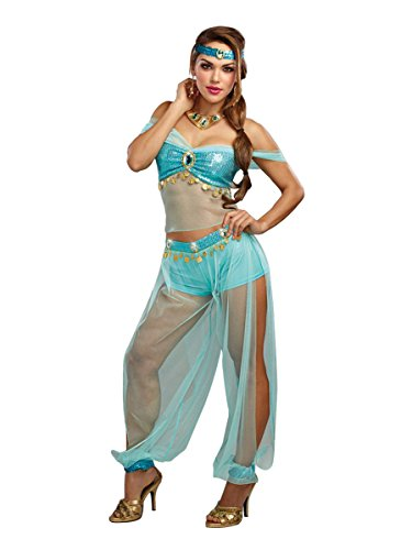 Dreamgirl Women's Harem Princess, Turquoise, (Jasmine For Halloween)