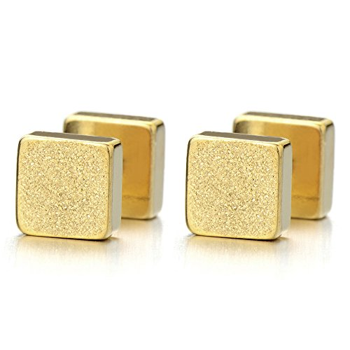 2pcs 6mm Gold Cube Barbell Earrings for Men - Mens Earrings Cube