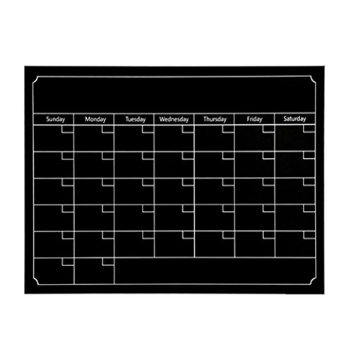 Kanzd Dry Erase Monthly refrigerator Planner Magnetic Calendar Chalkboard For Kitchen Fridge (Black)