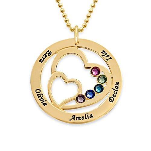 My Name Necklace 10K Gold Personalized Heart Pendant w/Swarovski Birthstones-Gift for Mom Custom Engraved (10k Gold Beads)