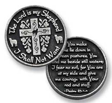Three (3) Pewter The LORD is My SHEPHERD I Shall Not Want - Pocket PRAYER Tokens - PSALM 23 - 1