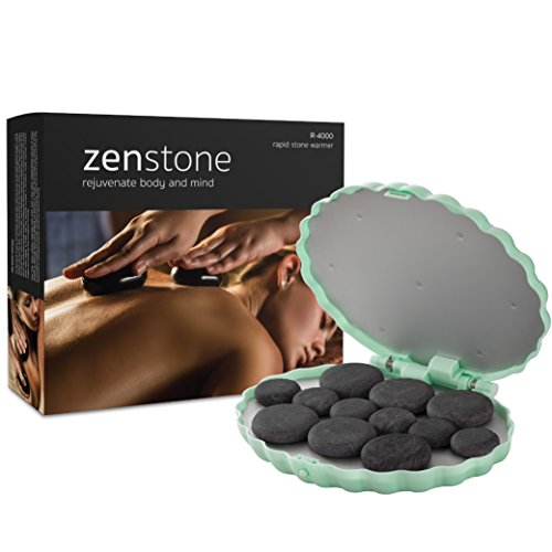 Kit Clam (ZENSTONE Professional Hot Stone Therapy Kit – Rapid Waterless Tech – 12 Stones Included | Massage Warmer (Spa Green))
