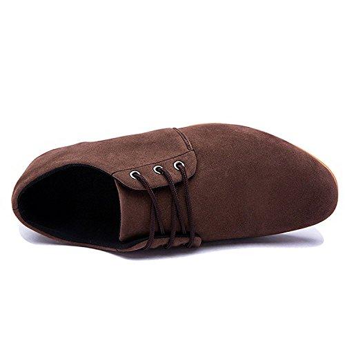 Mocasines Negocios de de Marrón Con Británico Zapatos Baja Estilo Comodidad Hombre de Planos de Cuero para Zapatilla Cordones Vestir Boda Minetom BHOqdpB