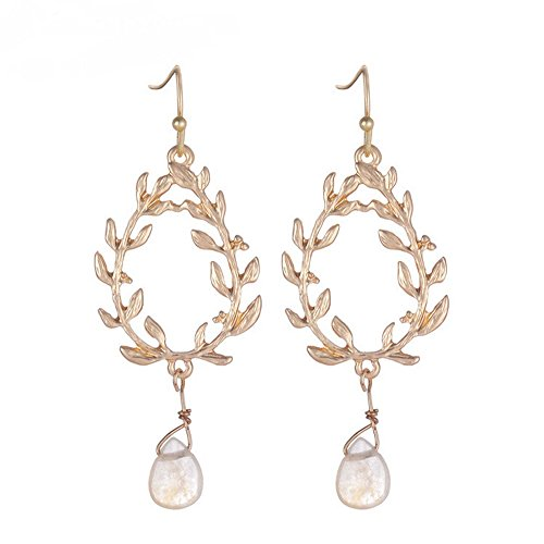 (The Starry Night Drop Style Life of Tree Stone Pendant Gold Plated Dangle Earring for Females)