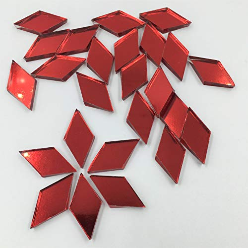 1.18'' (30mm)Diamond Shape Mirror Mosaic Tiles Red Foil Craft Mirror Pieces for Craft Projects (Pack of 50)