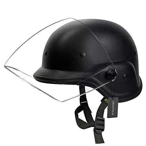 Tactical Military Airsoft M88 PASGT Kelver Swat Helmet with Clear Visor, Black]()