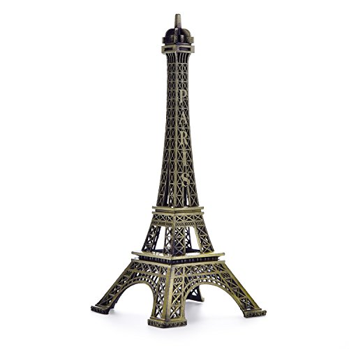 BESMELYIN Eiffel Tower Decor,7 Inch (18cm) Metal Paris Eiffel Tower Statue Figurine Replica Drawing Room Table Decor Jewelry Stand Holder for Cake Topper,Gifts,Party and Home Decoration (Eiffel And Paris Tower)