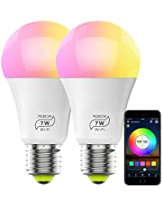 HaoDeng WiFi LED Light, 2Pack Smart Bulb -Timer& Sunrise& Sunset- Dimmable, Multicolor, Warm White (Color Changing Disco Ball Lamp) - 7W A19 E27(55W Equivalent), Compatible with Alexa, Google Home Assistant and IFTTT