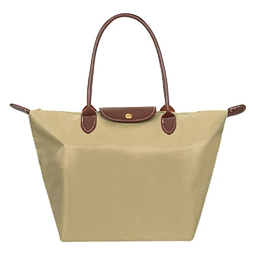 DESIGNER NYLON WATERPROOF TOTE BAG + FREE GIFT SILICONE PURSE (MEDIUM, BROWN) KHAKI