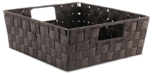 Whitmor Woven Strap Shelf Storage Tote Basket-Espresso