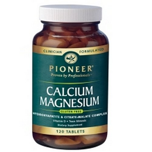 Pioneer Calcium Magnesium Tablets, 120-Count Bottle Magnesium Malate 120 Tabs
