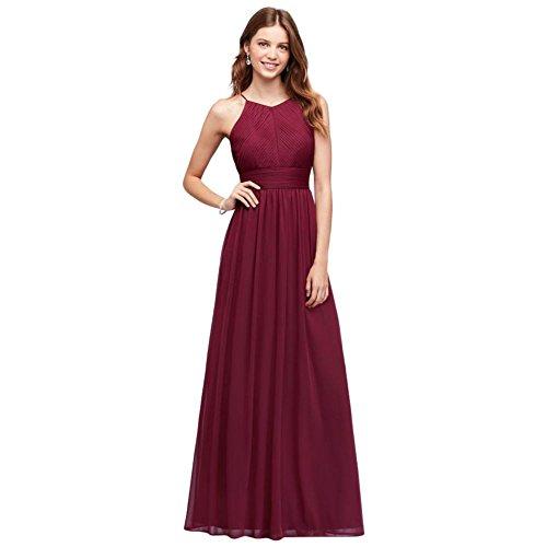 Halter Dress Merlot Micro Style Mesh 644595I Pleated Bridesmaid qvOzE