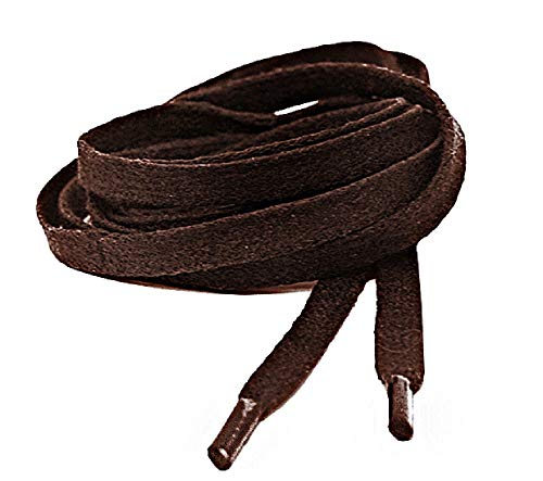 Mercury + Maia Flat Waxed Shoelaces - Men's Dress Shoelaces (54 inches, Brown)