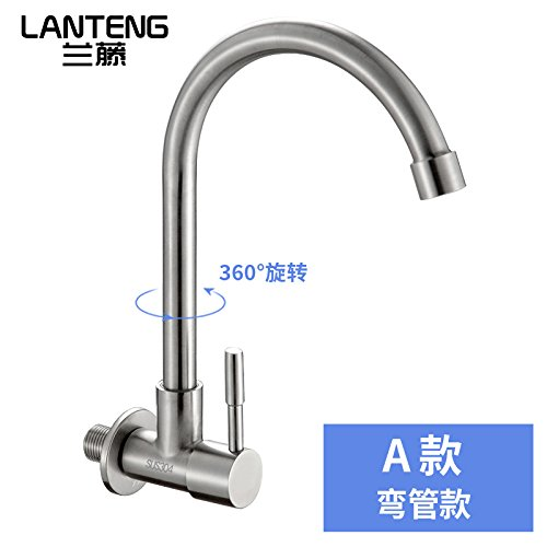 A Curved Tube Commercial Single Lever Pull Down Kitchen Sink Faucet BrassLantern 304 Stainless Steel Wall-Mounted Faucet Single Cold Kitchen Faucet Sink Sink 4 Points redating Universal,B Seven-Character Tube